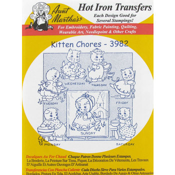 Kitten Chores Embroidery Transfer Pattern